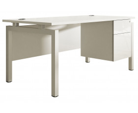Indigo Bench Leg Single Pedestal Desk (Frost White)