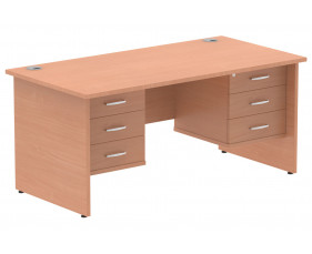 Vitali Panel End Rectangular Desk 3+3 Drawers