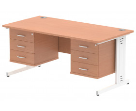 Vitali Deluxe Rectangular Desk 3+3 Drawers (White Legs)