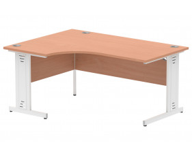 Vitali Deluxe Left Hand Ergonomic Desk (White Legs)