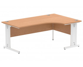 Vitali Deluxe Right Hand Ergonomic Desk (White Legs)