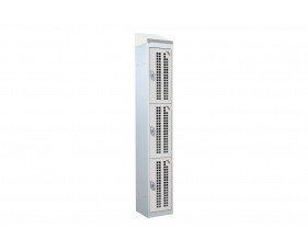 QMP Perforated 3 Door Locker With Sloping Top