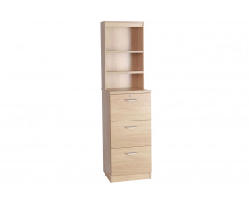 Small Office Mid Height 3 Drawer Filing Cabinet With Hutch Bookcase