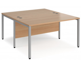 Value Line Deluxe Bench Back to Back Rectangular Desks (Silver Legs)