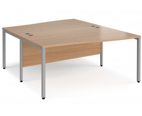 Value Line Deluxe Bench Back to Back Wave Desks (Silver Legs)