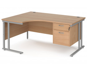 Value Line Deluxe C-Leg Left Hand Ergonomic Desk 2 Drawers (Silver Legs)