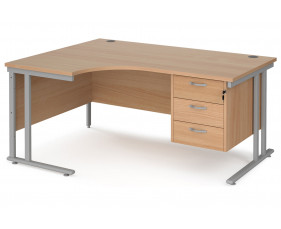 Value Line Deluxe C-Leg Left Hand Ergonomic Desk 3 Drawers (Silver Legs)