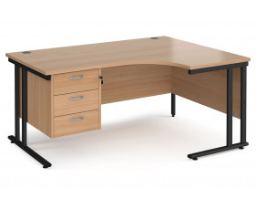 Value Line Deluxe C-Leg Right Hand Ergonomic Desk 3 Drawers (Black Legs)