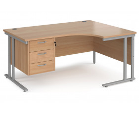 Value Line Deluxe C-Leg Right Hand Ergonomic Desk 3 Drawers (Silver Legs)