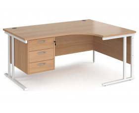 Value Line Deluxe C-Leg Right Hand Ergonomic Desk 3 Drawers (White Legs)