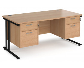 Value Line Deluxe C-Leg Rectangular Desk 2+2 Drawers (Black legs)