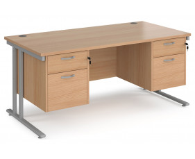Value Line Deluxe C-Leg Rectangular Desk 2+2 Drawers (Silver legs)