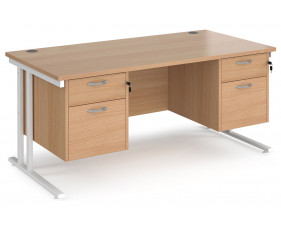 Value Line Deluxe C-Leg Rectangular Desk 2+2 Drawers (White legs)