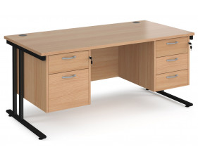 Value Line Deluxe C-Leg Rectangular Desk 2+3 Drawers (Black Legs)