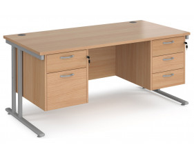 Value Line Deluxe C-Leg Rectangular Desk 2+3 Drawers (Silver Legs)