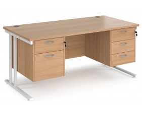 Value Line Deluxe C-Leg Rectangular Desk 2+3 Drawers (White Legs)
