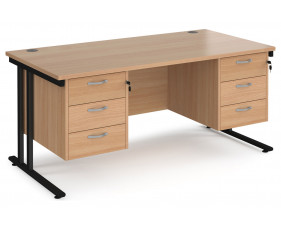 Value Line Deluxe C-Leg Rectangular Desk 3+3 Drawers (Black Legs)