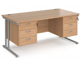 Value Line Deluxe C-Leg Rectangular Desk 3+3 Drawers (Silver Legs)