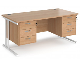 Value Line Deluxe C-Leg Rectangular Desk 3+3 Drawers (White Legs)