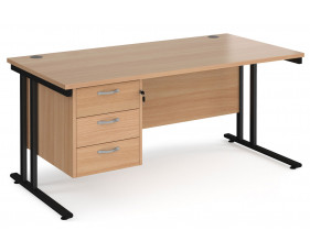 Value Line Deluxe C-Leg Rectangular Desk 3 Drawers (Black Legs)
