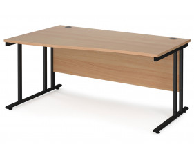 Value Line Deluxe C-Leg Left Hand Wave Desk (Black Legs)