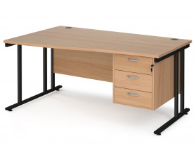 Value Line Deluxe C-Leg Left Hand Wave Desk 3 Drawers (Black Legs)