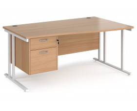 Value Line Deluxe C-Leg Right Hand Wave Desk 2 Drawers (White Legs)