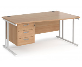 Value Line Deluxe C-Leg Right Hand Wave Desk 3 Drawers (White Legs)