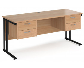 Value Line Deluxe C-Leg Narrow Rectangular Desk 2+2 Drawers (Black Legs)