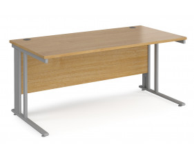 Value Line Deluxe Cable Managed Rectangular Desk (Silver Legs)