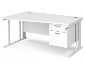 All White Premium Cable Managed Left Hand Wave Desk 2 Drawers