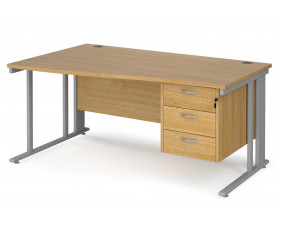 Value Line Deluxe Cable Managed Left Hand Wave Desk 3 Drawers (Silver Legs)