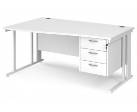 All White Premium Cable Managed Left Hand Wave Desk 3 Drawers