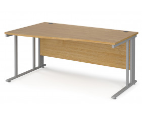 Value Line Deluxe Cable Managed Left Hand Wave Desk (Silver Legs)