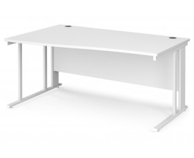 All White Premium Cable Managed Left Hand Wave Desk