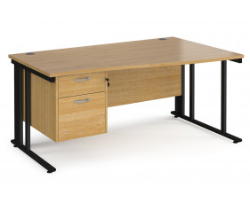 Value Line Deluxe Cable Managed Right Hand Wave Desk 2 Drawers (Black Legs)