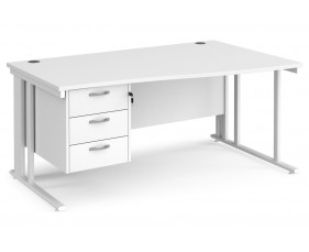 All White Premium Cable Managed Right Hand Wave Desk 3 Drawers