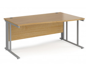 Value Line Deluxe Cable Managed Right Hand Wave Desk (Silver Legs)