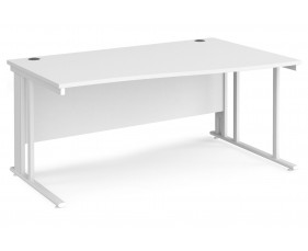 All White Premium Cable Managed Right Hand Wave Desk