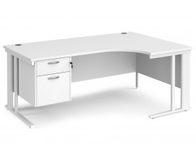 All White Premium Cable Managed Right Hand Ergo Desk 2 Drawers