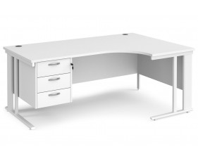 All White Premium Cable Managed Right Hand Ergo Desk 3 Drawers