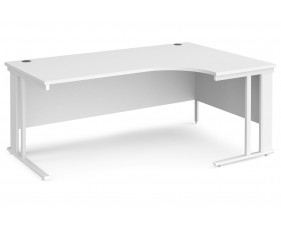 All White Premium Cable Managed Right Hand Ergo Desk