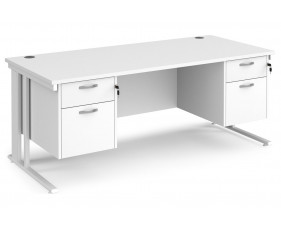 All White Premium Cable Managed Rectangular Desk 2+2 Drawers