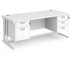 All White Premium Cable Managed Rectangular Desk 2+3 Drawers