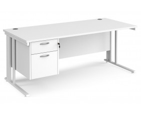 All White Premium Cable Managed Rectangular Desk 2 Drawers