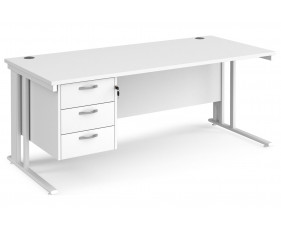 All White Premium Cable Managed Rectangular Desk 3 Drawers
