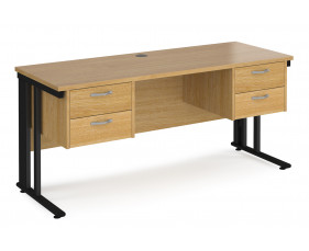 Value Line Deluxe Cable Managed Narrow Rectangular Desk 2+2 Drawers (Black Legs)