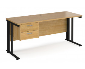 Value Line Deluxe Cable Managed Narrow Rectangular Desk 2 Drawers (Black Legs)