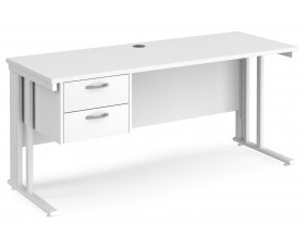 All White Premium Cable Managed Narrow Rectangular Desk 2 Drawers