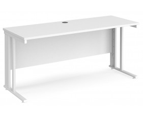All White Premium Cable Managed Narrow Rectangular Desk